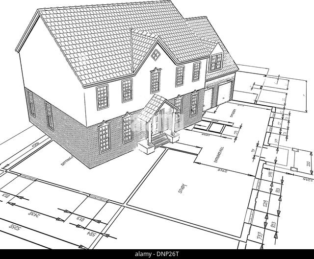 Sketched style illustration of a house on plans - Stock-Bilder