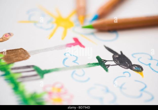 Garden scene with garden tools, child's drawing with coloured pencils - Stock-Bilder