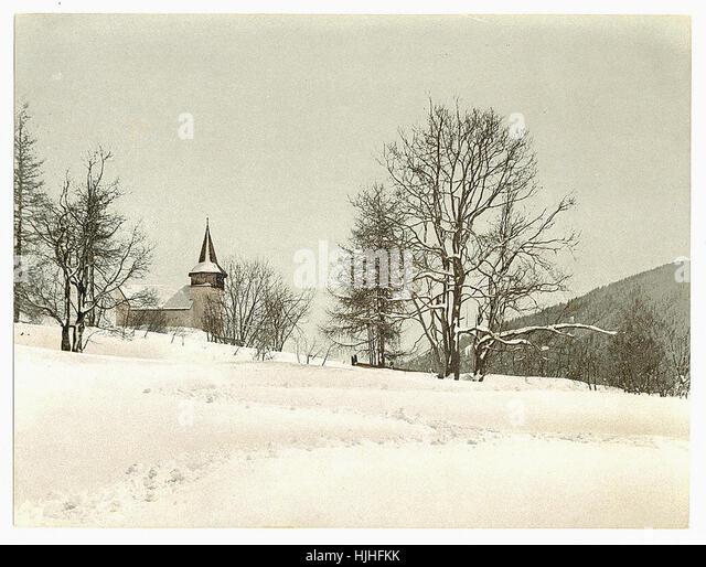 Frauenkirch, near Davos, Grisons, Switzerland, in winter (reversed)  - Photochrom XIXth century - Stock Image