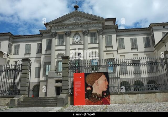 Outside the main entrance of the Accademia Carrara art gallery in Bergamo, Lombardy, northern Italy, July 2017 - Stock Image