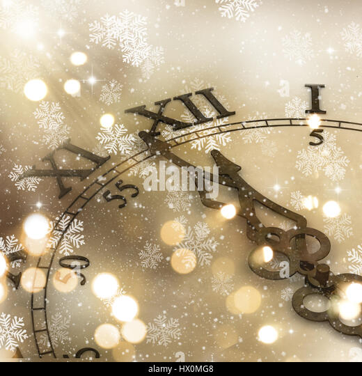 Decorative clock background for the New Year - Stock Image