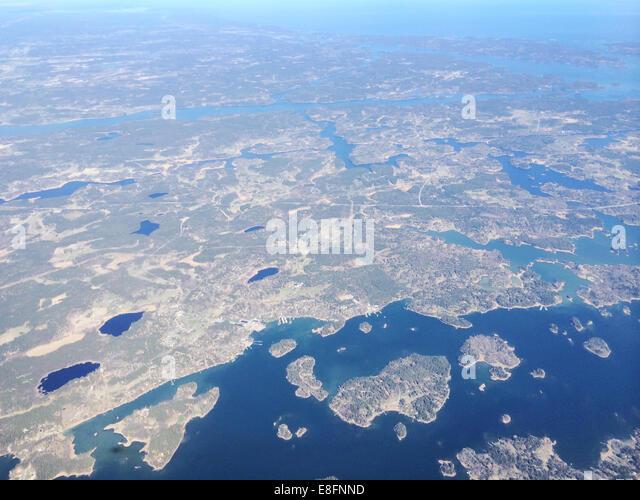Sweden, Stockholm, Aerial view of coastline - Stock Image