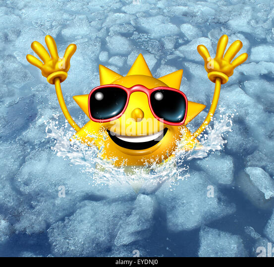 Coooling off fun and cool down concept as a happy hot sun character diving into frozen ice water as a symbol for - Stock-Bilder