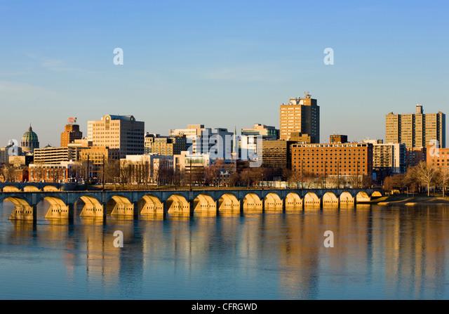 Skyline of Harrisburg, capital of Pennsylvania, on Susquehanna River, in Dauphin County - Stock Image