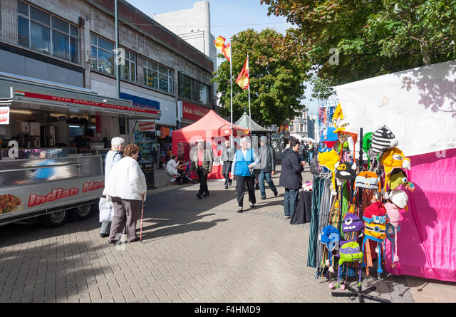 Continental street food market, George Street, Luton, Bedfordshire, England, United Kingdom - Stock Image