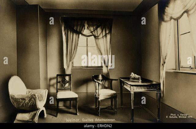 Goethe 's workroom in Weimar. Photograph taken in 1910. Goethe-Nationalmuseum, Weimar.  German poet, novelist, - Stock Image