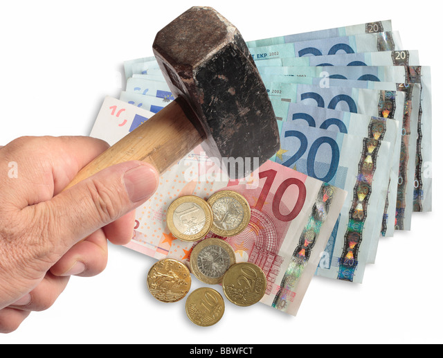Euro being hammered on the foreign exchanges. - Stock Image