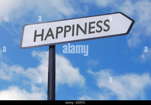 Happiness street sign with blue sky - Stock Image