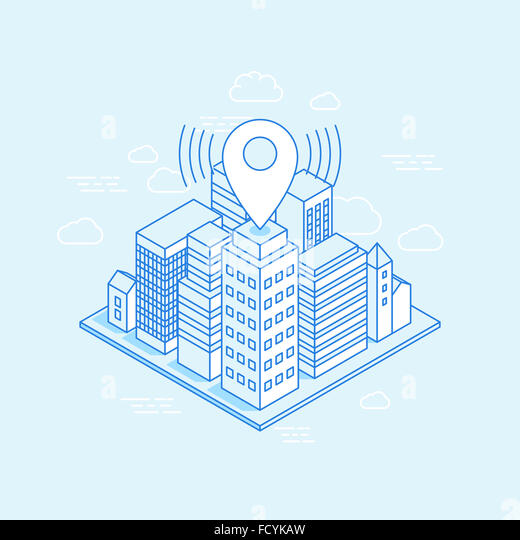 Isometric city illustration with map pin - business location concept - illustration with buildings in trendy linear - Stock Image