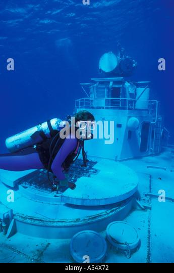 Cayman Islands West Indies Caribbean Cayman Brac Wreck of Tibbetts scuba diver - Stock Image