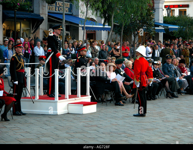 Sir Francis Richards, governor of Gibraltar, holding the keys to the gates, Ceremony Of The Keys,  Casemates Square, - Stock Image