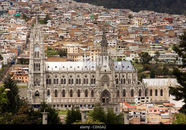 Basilica Del Voto Nacional viewed from Parque Itchimbia - Quito, Ecuador - Stock Image