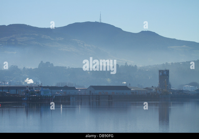 Otago Harbour, Dunedin, and Mt Cargill, South Island, New Zealand - Stock Image