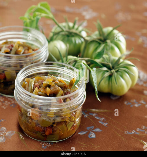 Green tomato chutney ( topic : in the open air) - Stock Image