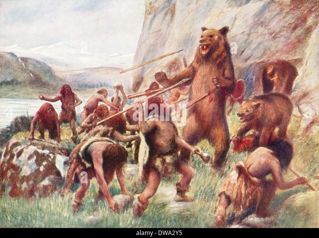 Stone age man hunting wild bears. - Stock-Bilder