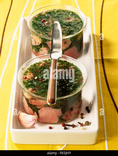 ham marbled with parsley - Stock Image