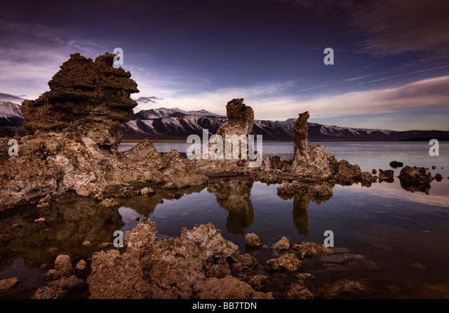 Moody image of Mono Lake near Lee Vining in California, USA. - Stock Image