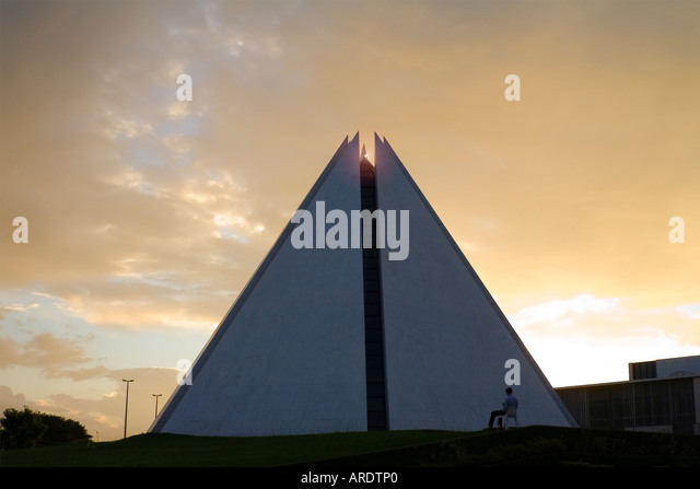 Sunset and LBV Crystal on top of Temple of Good Will in Brasilia Brazil - Stock Image