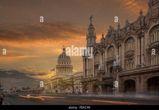 The Capitol building and the National Theater at sunset, Havana, Cuba - Stock Image