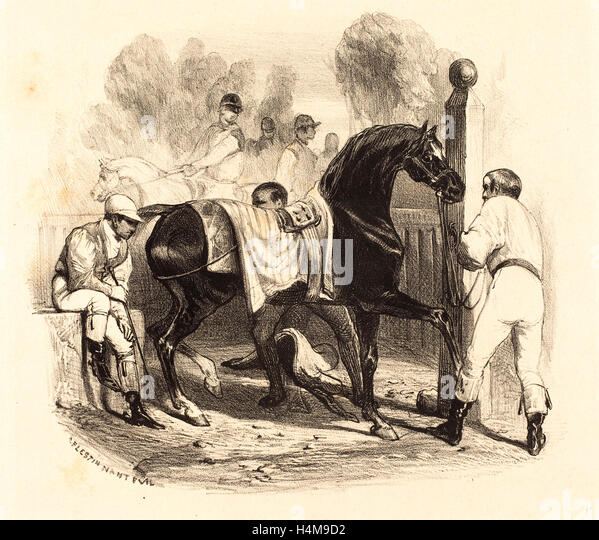 Célestin Nanteuil, French (1813-1873), Horse before the Race, lithograph - Stock-Bilder