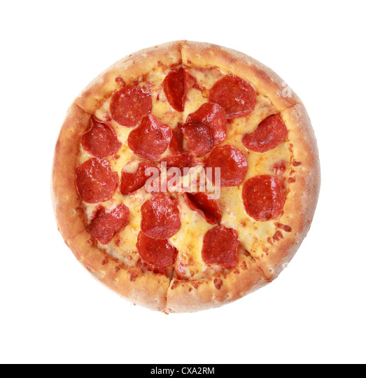 To view pizza isolated on white background - Stock Image