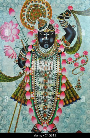 Painting of Srinathji Swaroop - Stock Image