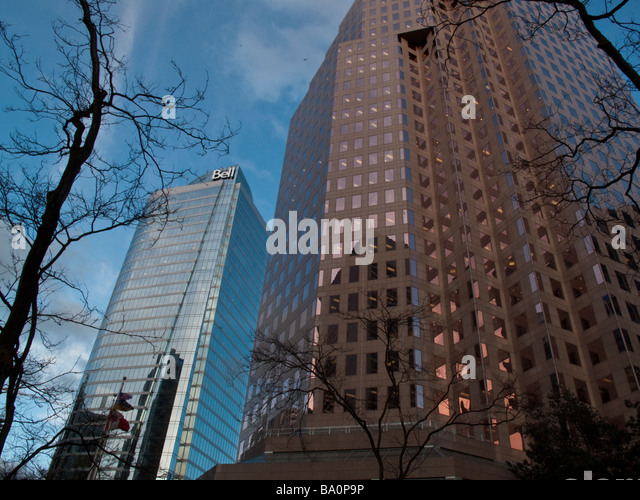 Office towers on Burrard Street in central Vancouver British Columbia - Stock Image