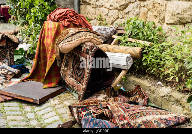 KORNELIMUENSTER, GERMANY, 18th June, 2017 - old carpets for sale on the historic fair of Kornelimuenster. - Stock Image