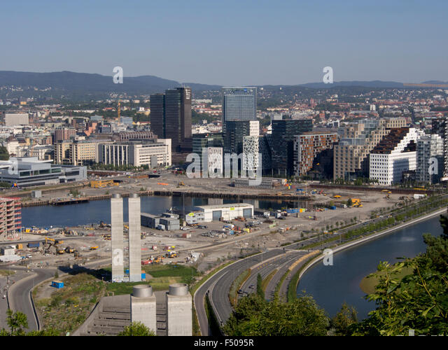 Barcode commercial highrises in Bjorvika Oslo Norway , lots for future development, new Munch museum and residential - Stock Image