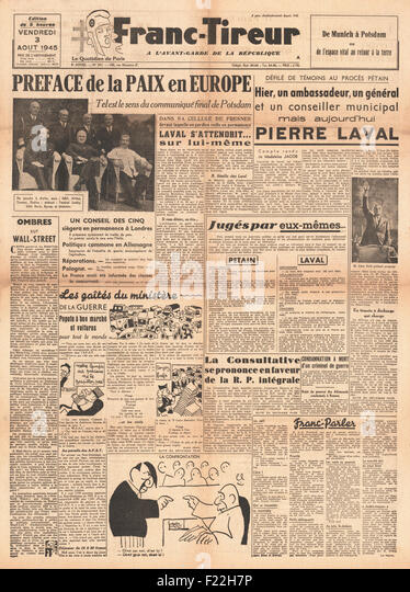 1945 Franc-Tireur (France) front page reporting Allies Reach Agreement Reached at Potsdam Conference - Stock Image