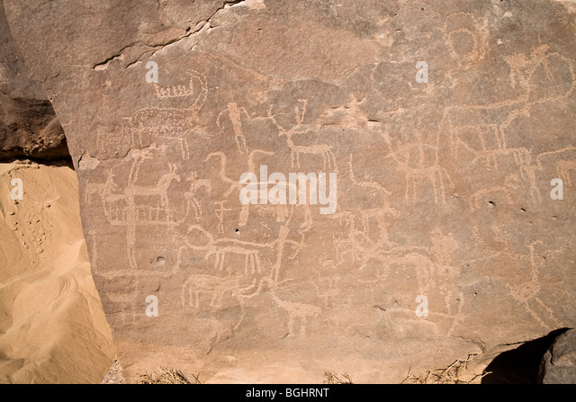 Close up of images on a cliff face at Winklers famous Rock-Art site 26 in Wadi Abu Wasil in the Eastern Desert of - Stock Image