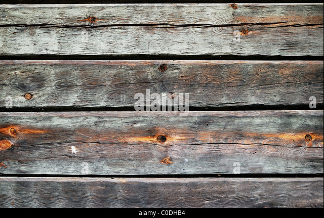 Timber wall of old wooden house - Stock-Bilder