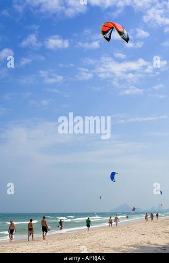 Wind Surfing, Board Sailing Hua Hin Beach, Thailand - Stock Image