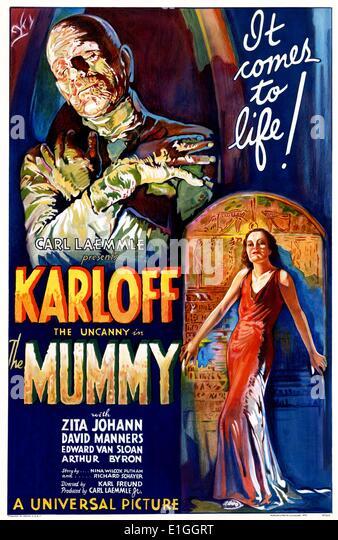 'Mummy' with Boris Karloff a 1932 horror film. - Stock Image