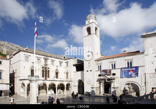 BELL TOWER HOUSE OF THE MAIN GUARD SPONZA PALACE & LUZA SQUARE OLD TOWN DUBROVNIK CROATIA 08 October 2011 - Stock Image