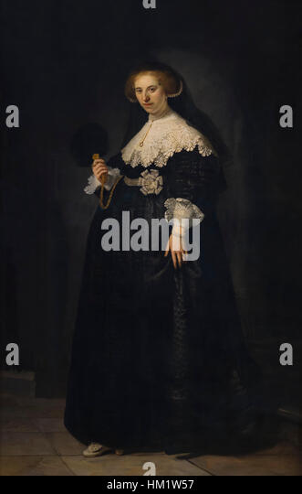 Portrait of Oopjen Coppit, by Rembrandt, 1634, oil on canvas,   Rijksmuseum, Amsterdam, Netherlands, Europe, - Stock Image