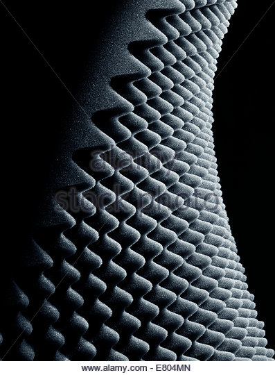 Studio Shot of Sound and Audio Insulation or acoustic egg crate foam, - Stock Image