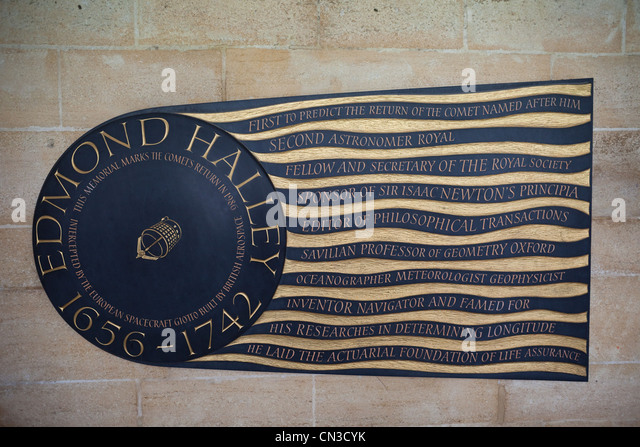 England, London, Westminster Abbey, The Cloisters, Edmond Halley Memorial Plaque - Stock Image