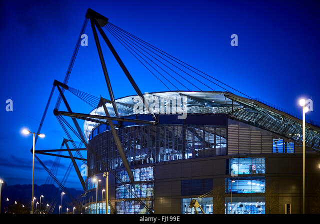 The City of Manchester Stadium in Manchester, England, also known as Etihad Stadium for sponsorship reasons, is - Stock-Bilder