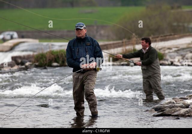 Salmon fishing on the River Tweed, near Kelso, in the Scottish Borders. - Stock Image