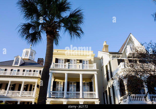 Charleston South Carolina National Historic Landmark Historic District preservation The Battery house home mansion - Stock Image
