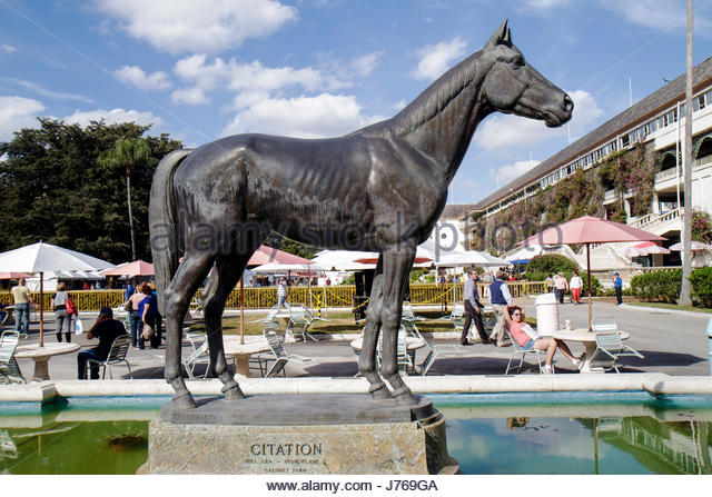 Hialeah Florida Miami Hialeah Park quarter horse racing racetrack statue Citation - Stock Image