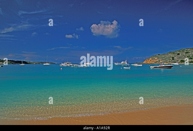 Anguilla Sandy Ground  colorful water boats scenic landscape - Stock Image