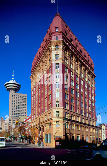 Vancouver, BC, British Columbia, Canada - The Dominion Building and Harbour Centre Tower with Revolving Restaurant - Stock Image