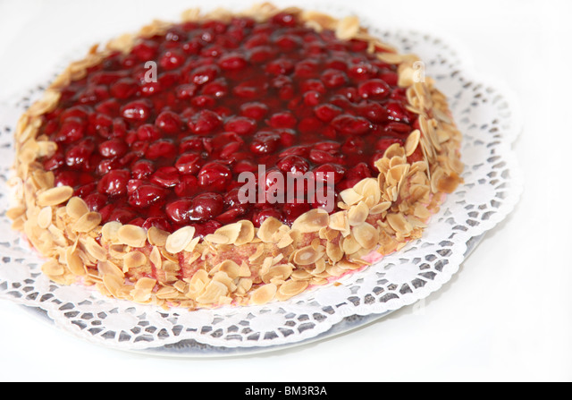 A cake with almond edge - close-up - Stock Image