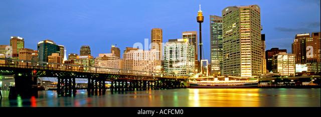 Austalia sydney Darling harbour Panorama at twilight - Stock Image