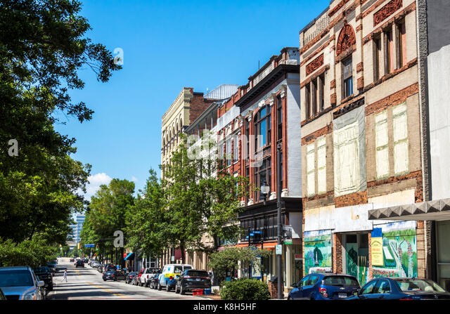 North Carolina NC Wilmington North Front Street historic district downtown buildings business stores - Stock Image