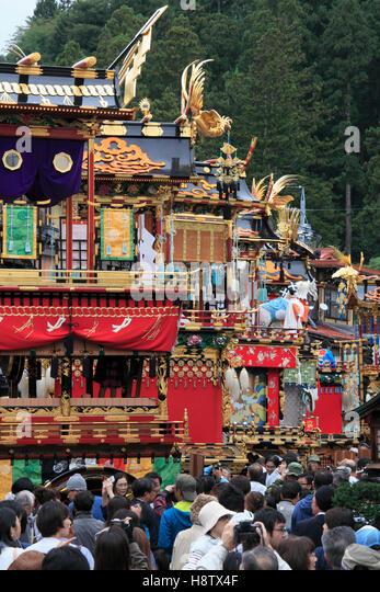 Japan, Gifu, Takayama, festival, floats, people, crowd, - Stock Image