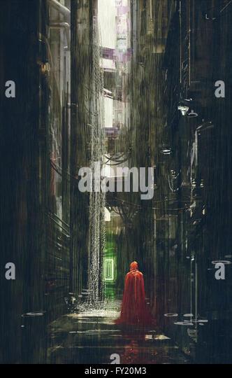 Red Riding Hood in futuristic alley,science fiction scene,illustration - Stock-Bilder