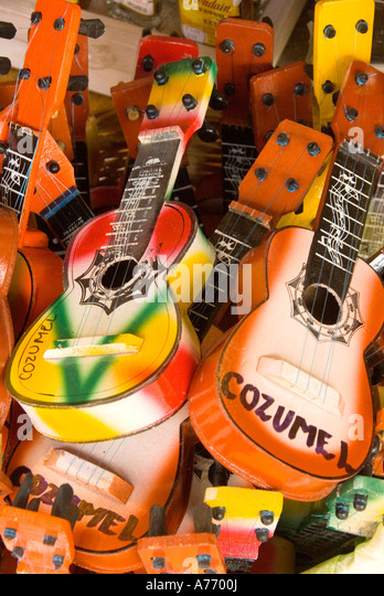 Cozumel Mexico souvenir guitars with Cozumel name - Stock Image
